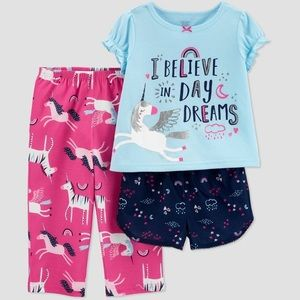 Toddler Girls' 3pc Unicorn Poly Pajama Set 3T